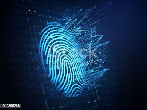 istock Technology of digital fingerprint scanning. 912895268