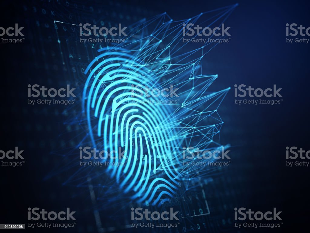 Technology of digital fingerprint scanning. stock photo