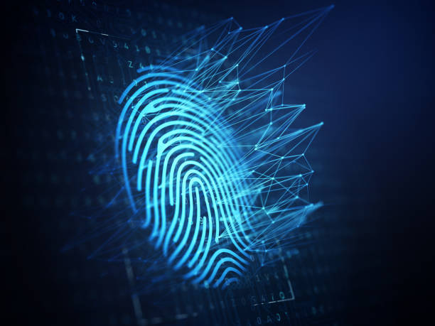 Technology of digital fingerprint scanning. A computer identify and measuring the bright fingerprint on the digital surface. 3d illustration biometrics stock pictures, royalty-free photos & images