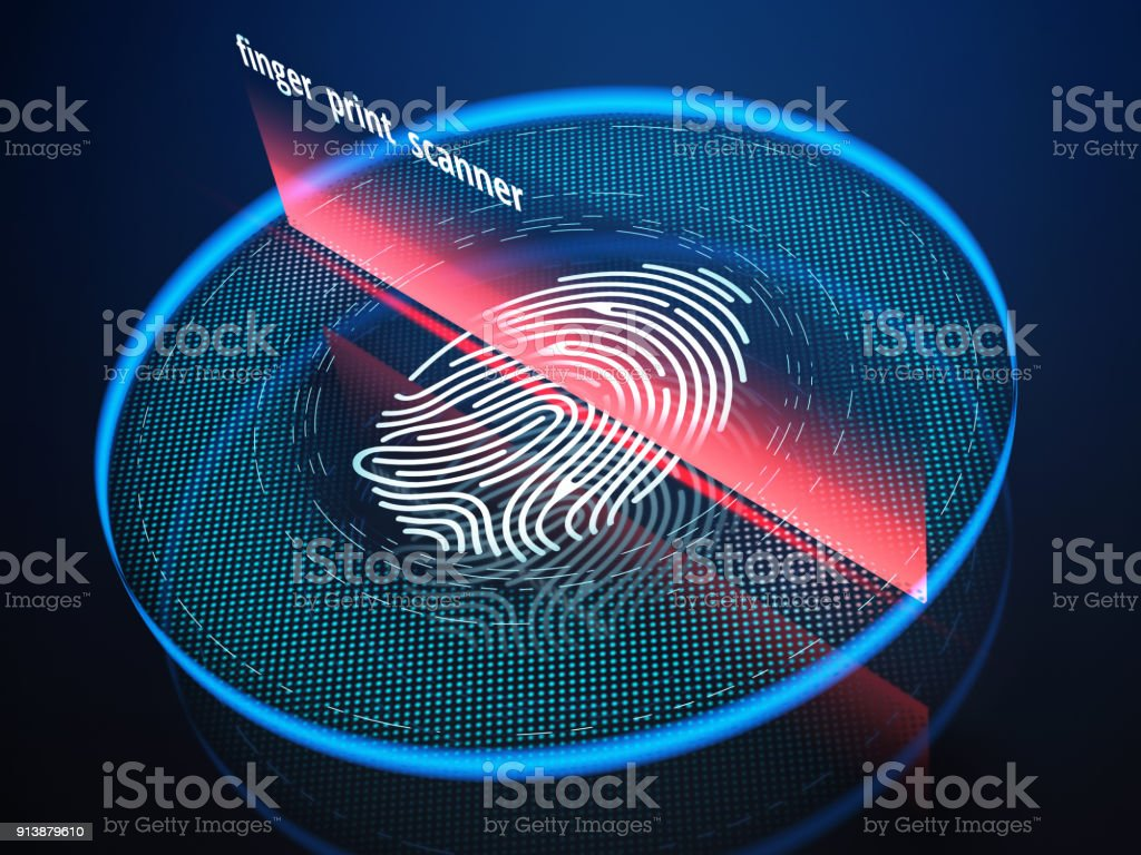 Technology of digital fingerprint scanning. stock photo