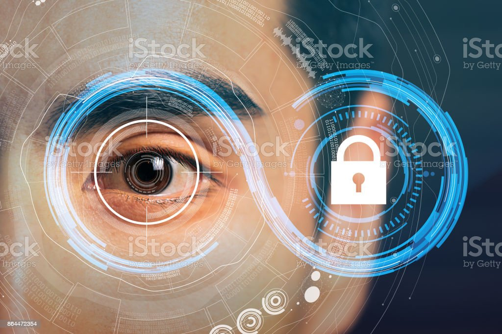 technology of security concept. personal authentication system. mixed media. stock photo