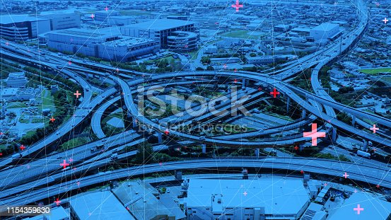 istock Technology of transportation concept. Communication network. 1154359630
