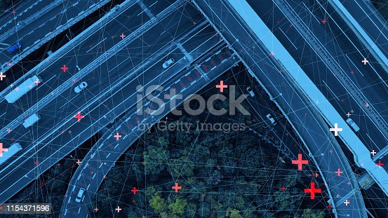 istock Technology of transportation concept. Communication network. 1154371596