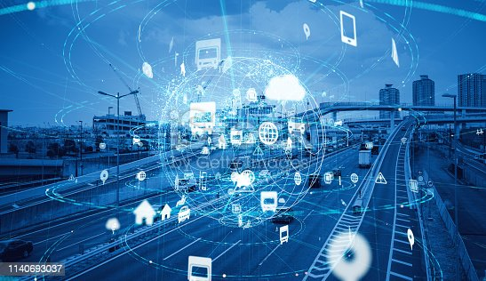 685306538 istock photo Technology of transportation concept. Traffic control systems. Internet of Things. Mobility as a service. 1140693037