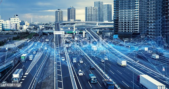685306538 istock photo Technology of transportation concept. Traffic control systems. Internet of Things. Mobility as a service. 1140961203