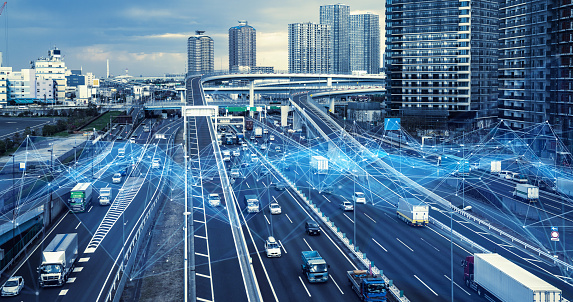 istock Technology of transportation concept. Traffic control systems. Internet of Things. Mobility as a service. 1140961203