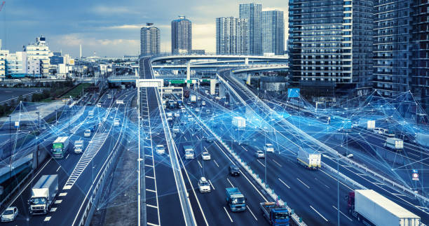technology of transportation concept. traffic control systems. internet of things. mobility as a service. - logistica foto e immagini stock