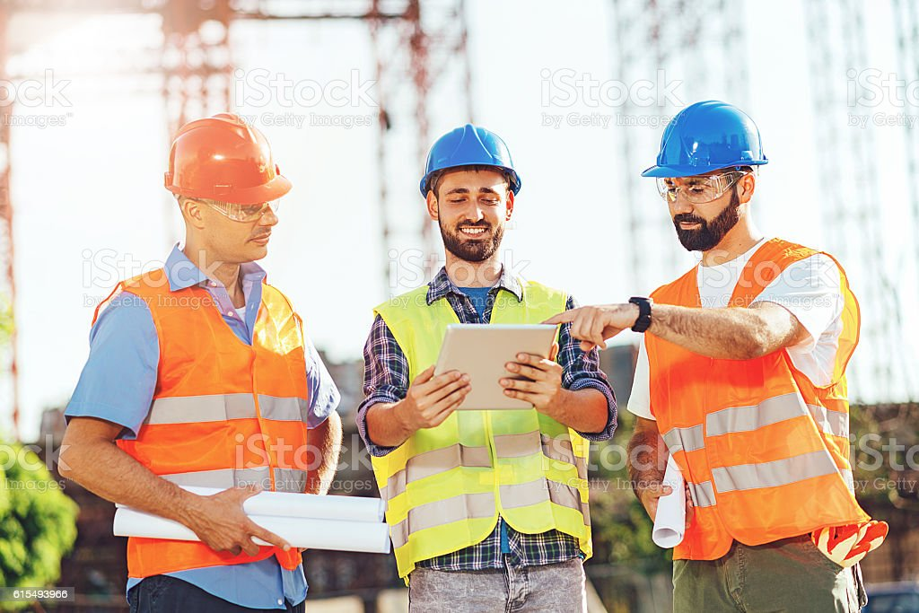 Technology on construction platform stock photo