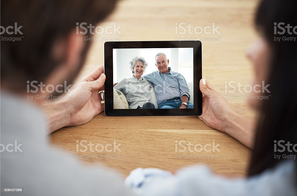 Technology overcomes distance stock photo