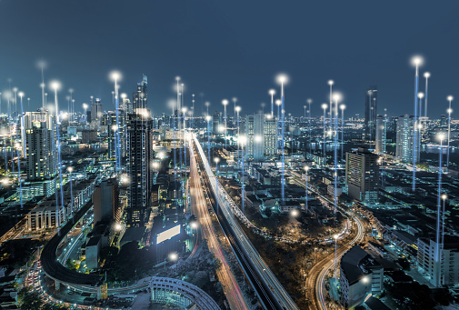 Smart city and dot point connect Modern Telecom System ,Boundless connection technology concept.Blue tone