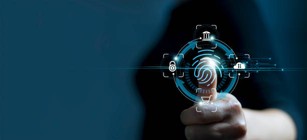 Technology safety of future and cybernetic on internet, Fingerprint scan provides access of security and identification of business, Big Data, Banking and Cloud computing. stock photo