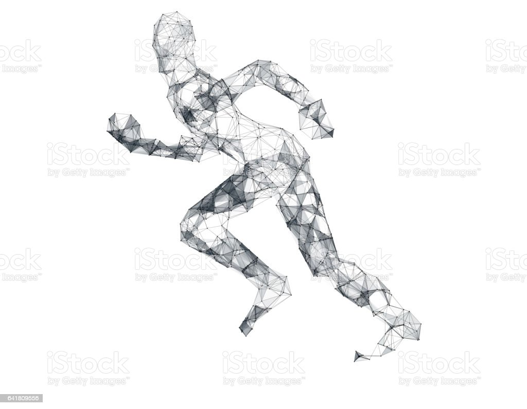 Technology sense of the line of human models, technology lines stock photo