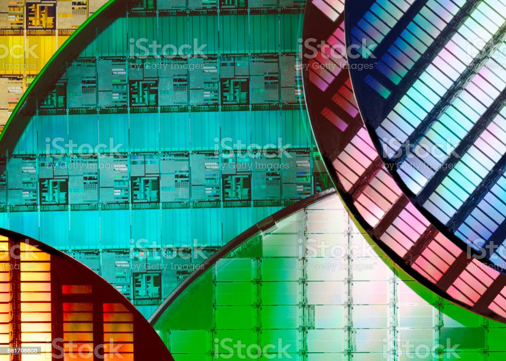 Technology - Silicon Wafers and Microcircuits stock photo