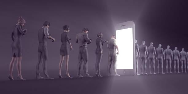 technology smartphone turning people into zombies - seitas imagens e fotografias de stock