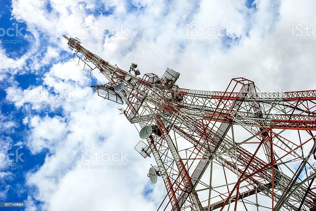 Technology transmission tower stock photo