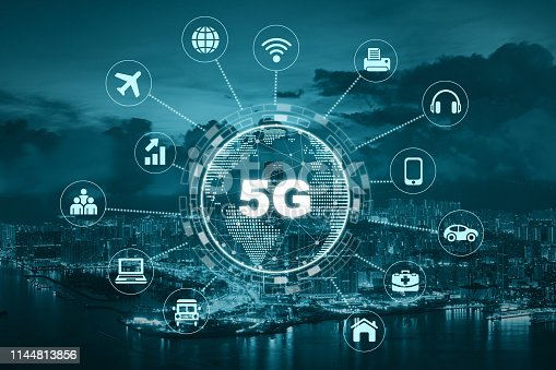 620974266 istock photo 5G technology with earth dot in center of various icon internet of thing over the Aerial View of Hong Kong Cityscape, Wireless communication connection network concept. 1144813856