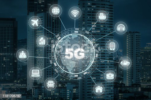 620974266 istock photo 5G technology with earth dot in center of various icon internet of thing over the closeup Bangkok cityscape, Wireless communication connection network concept. 1151205752