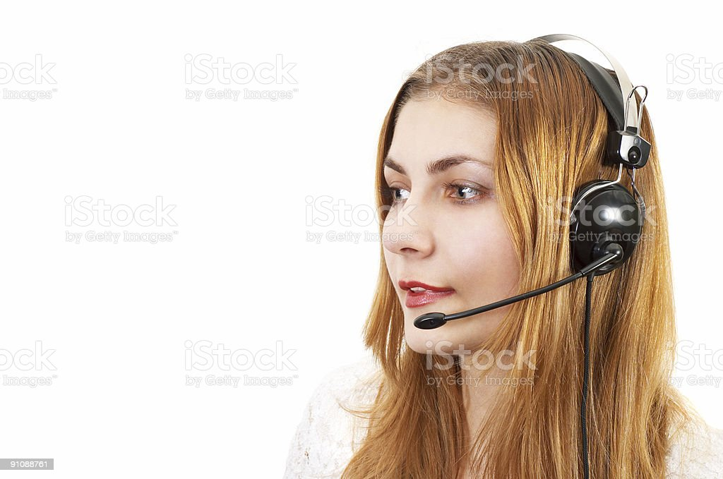 techsupport girl on the phone royalty-free stock photo