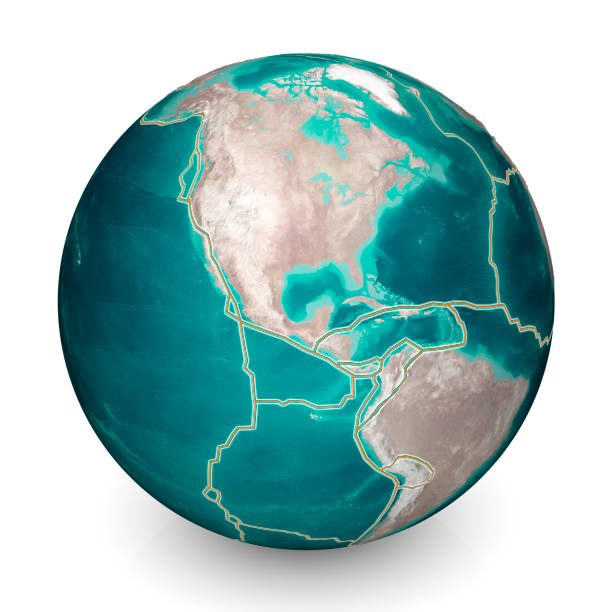 Tectonic plates move constantly, and can change our planet's features, depending on how they meet. Where they push together, mountains and volcanoes form. Where they pull apart, new ocean floor is created. North America stock photo