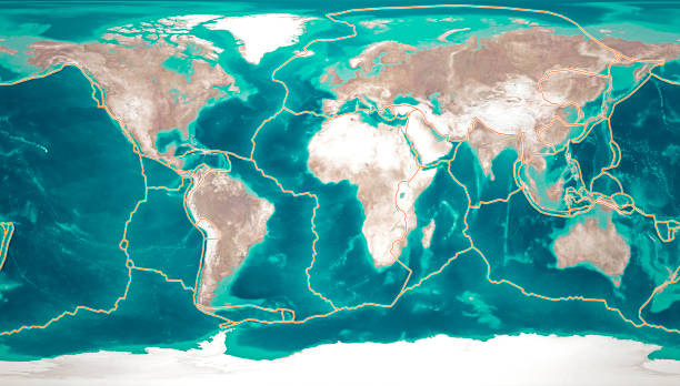 tectonic plates move constantly, making new areas of ocean floor, building mountains, causing earthquakes, and creating volcanoes. 3d rendering. map - crosta geologia foto e immagini stock