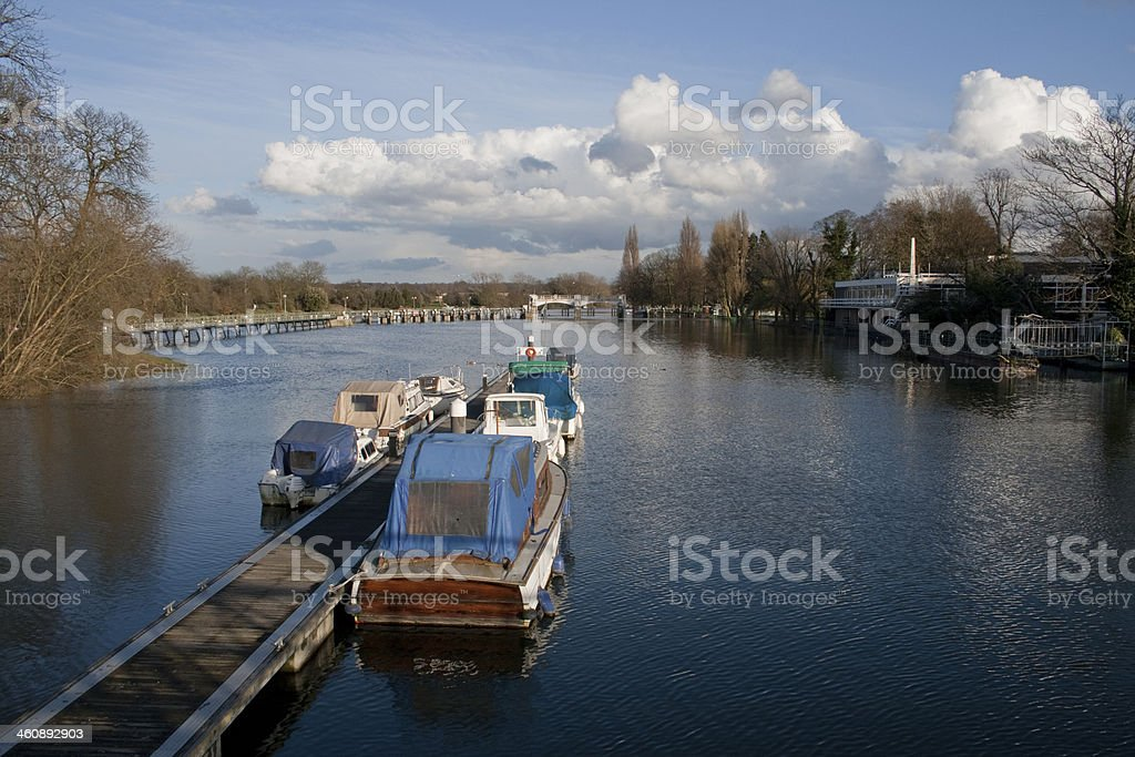 Teddington Lock in Middlesex England royalty-free stock photo