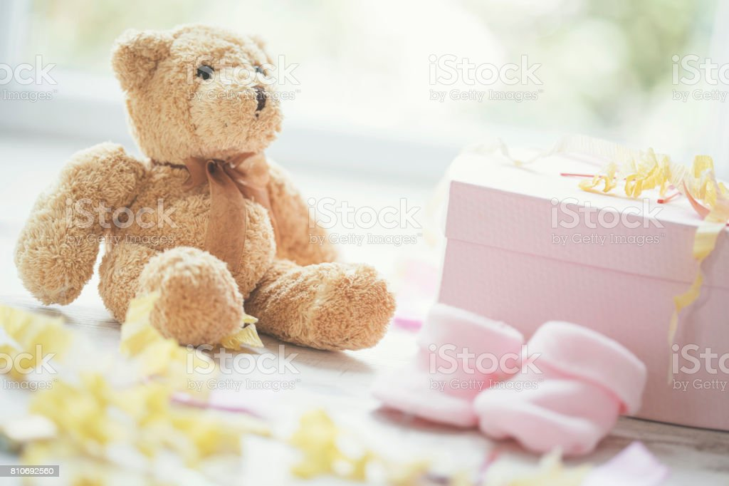 Teddy bear and baby shower party accessories - foto stock