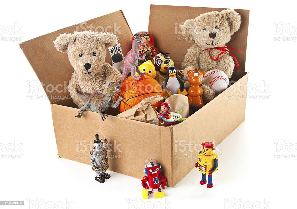Teddy Bear and Box Full of Toys