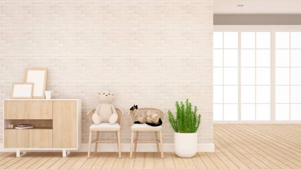 teddy bär und katze auf stuhl im wohnzimmer oder kind raum - interior design für grafik - 3d rendering - katzenschrank stock-fotos und bilder