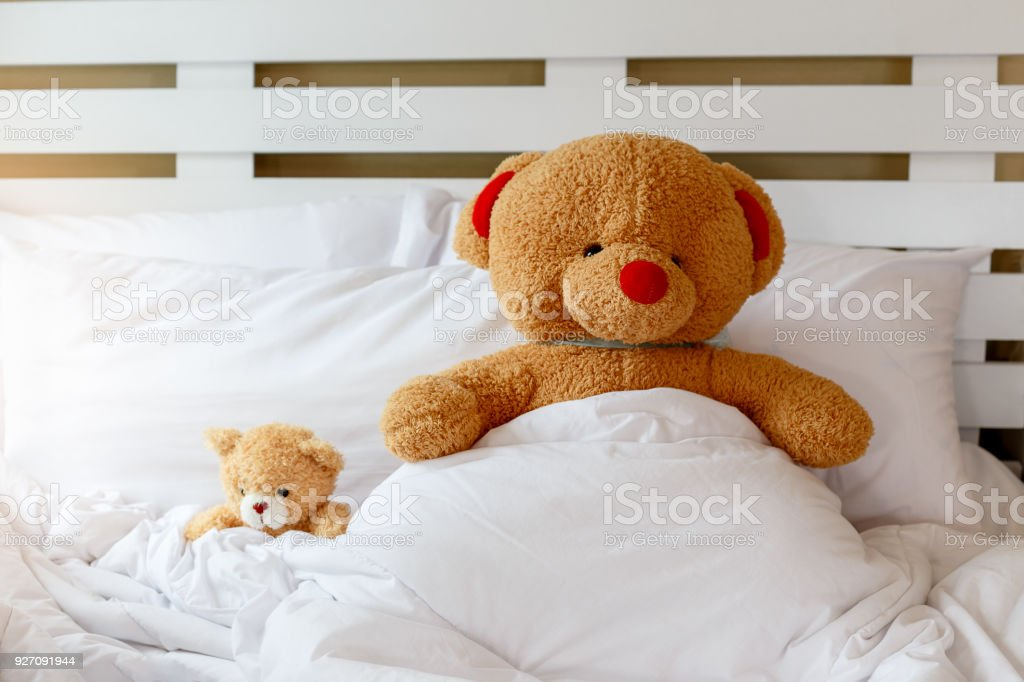 Teddy Bär Und Kleiner Teddybär Liegen Und Schlafen Im Bett Kinder  Schlafzimmer, Familie, Liebe