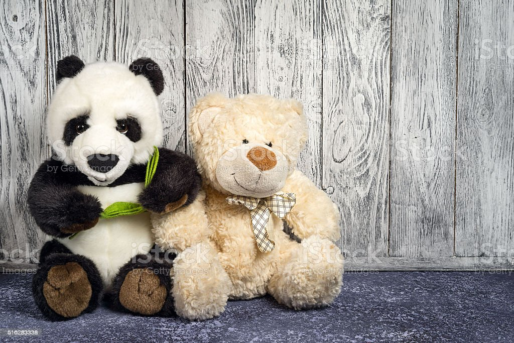 Teddy bear and panda beer toys stock photo