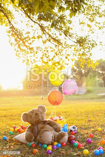 teddy bear at sunset with balls and toys