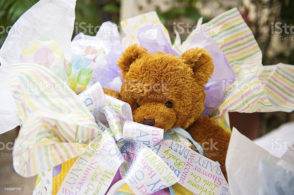 Teddy Bear baby shower gift stock photo