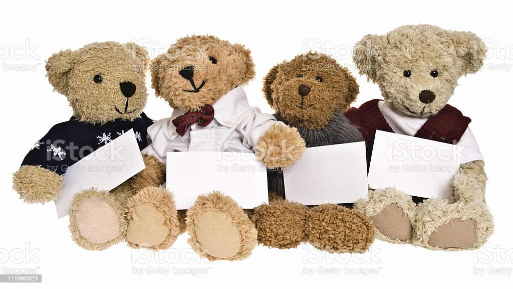 Teddy Bear Group Photo with Blank Cards royalty-free stock photo