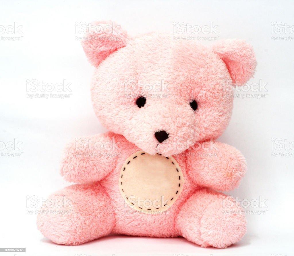 Teddy bear has a lovely pink. bear has a circle for text input.