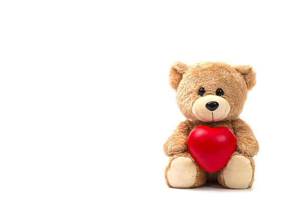 teddy bear: health insurance or love concept on white background - teddy bear stock photos and pictures