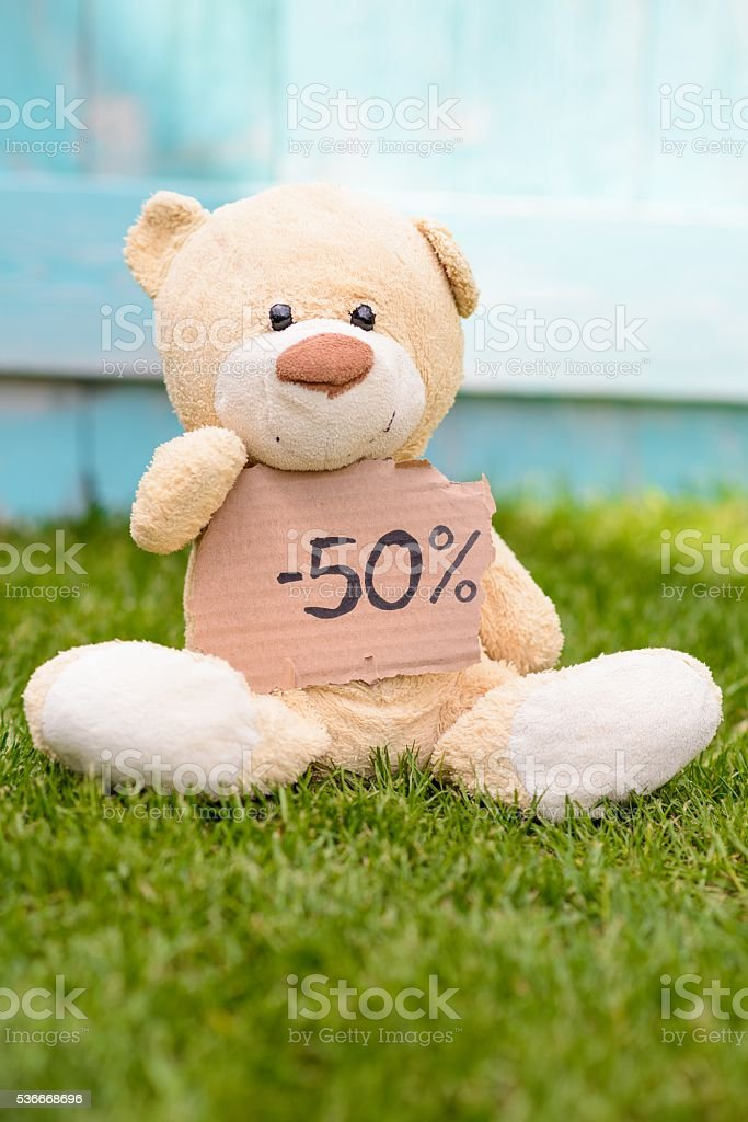Teddy bear holding cardboard with information 50% stock photo