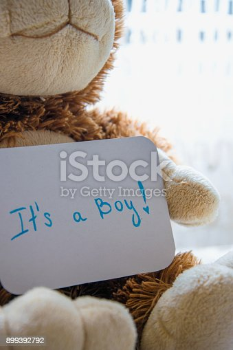 886700726istockphoto Teddy bear holds an announcement card for baby boy, space for text 899392792