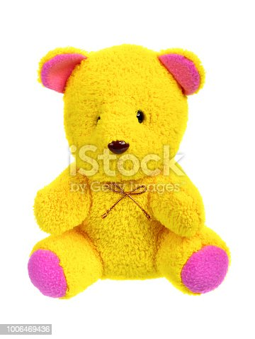 teddy bear isolated on white background, yellow