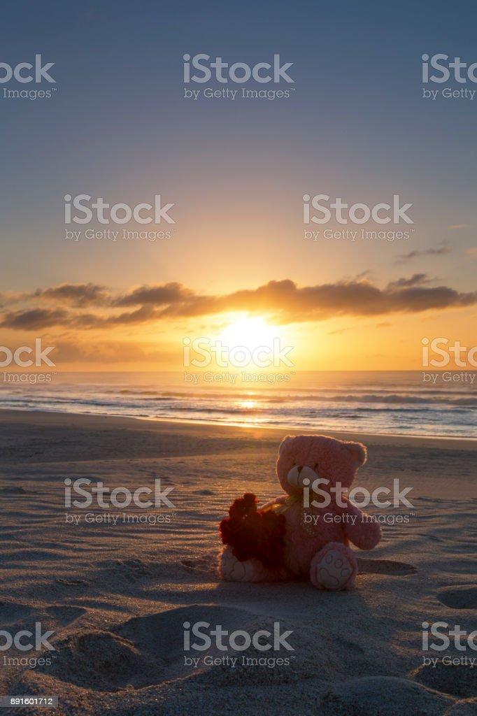 Teddy bear on a beach at sunrise with bunch of flowers