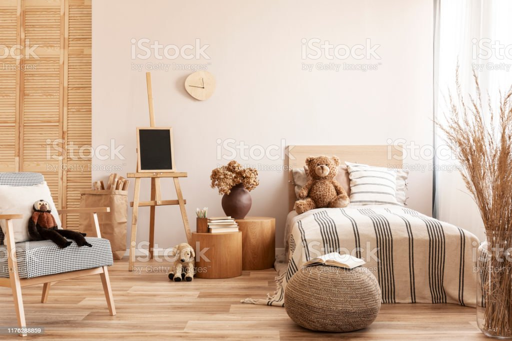 Teddy Bear On Single Wooden Bed In Natural Kids Bedroom Stock Photo Download Image Now Istock