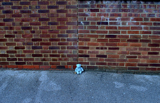 Teddy Bear on the pavement against a brick wall