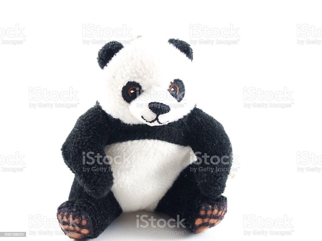 Teddy bear, panda doll, black rim of eyes stock photo