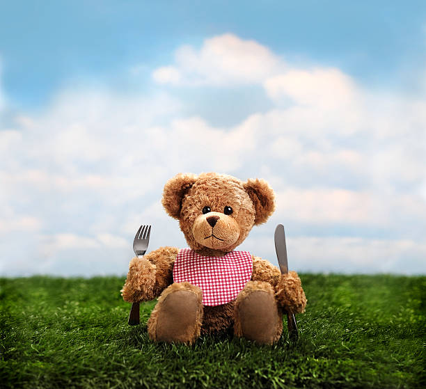 "Teddy Bear Picnic ""Cute teddy bear ready for a picnic with a bib, fork and knifePlease see more of my"" teddy bear stock pictures, royalty-free photos & images"