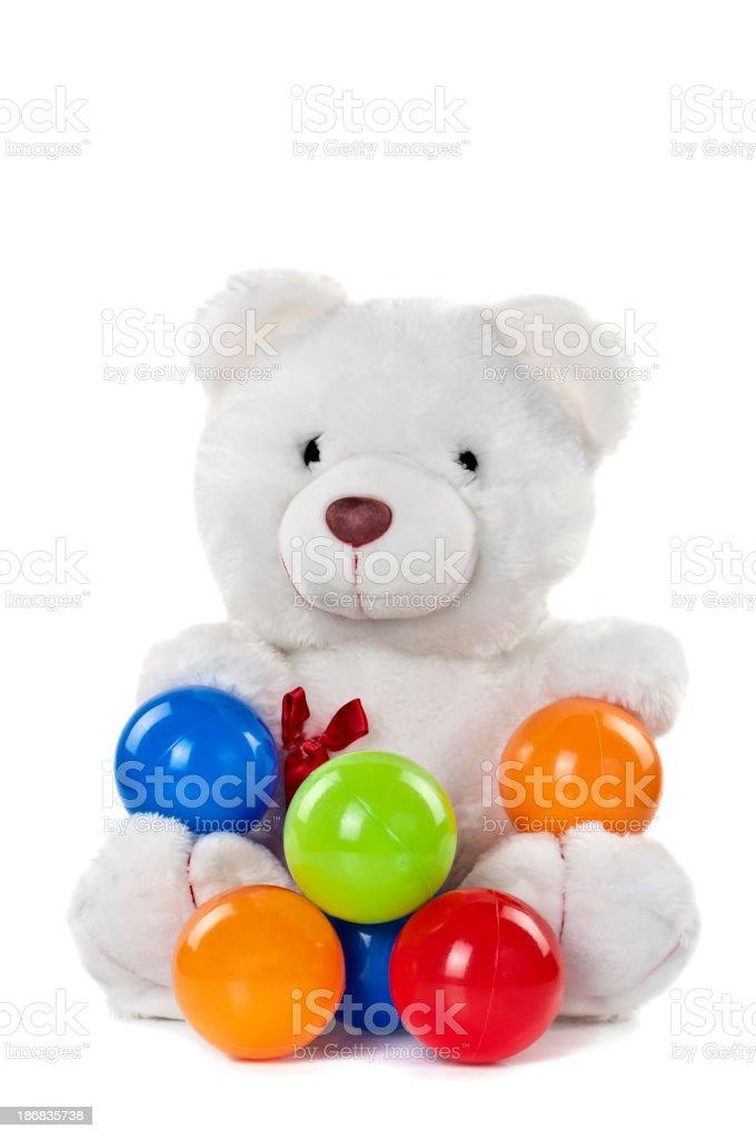 Teddy Bear Playing Balls royalty-free stock photo