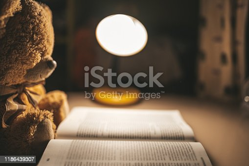 Teddy bear reading a book with nightlight in room