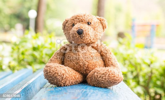 istock Teddy bear sit on bench in park ,soft focus 528617646