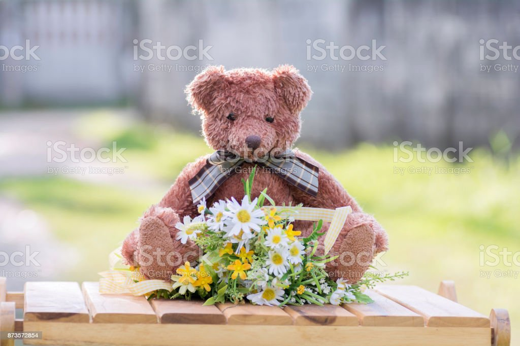 Teddy Bear Sit on the floor with a bouquet of flowers. stock photo