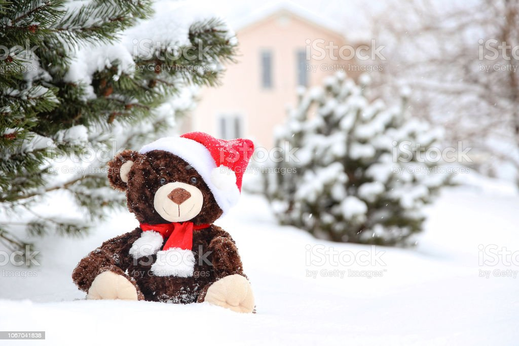 the concept of presents for Christmas. New home and teddy bear....