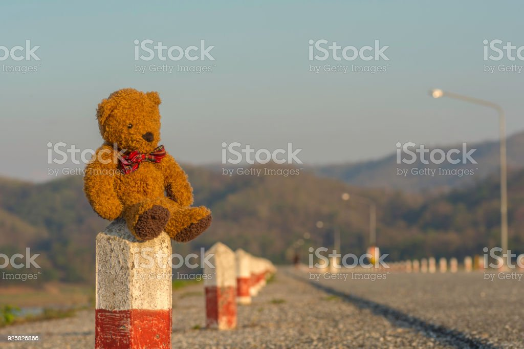 Teddy bear sits on the cement side of the road .