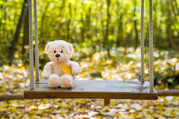 teddy bear swinging in the autumn park - bärenpark stock-fotos und bilder